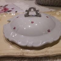 Zsolnay antik rózsás leveses tál tető