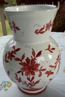 Német kerámia váza, szórt, festett mintával,  20 cm magas