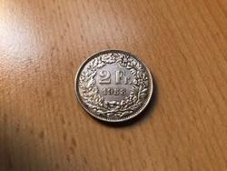 1958 ezüst 2 frank 10 gramm 0,835 Ritka