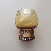 Régi finn Penti Sarpaneva üvegpohár bronz díszítéssel