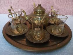 Régi Török  20 darabos sárgaréz rózsamintás aranyozott  kávéskészlet.