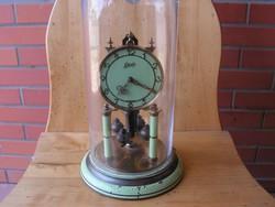 Antik 400 napos  SCHATZ rugós-mechanikus forgóingás burás kandalló óra