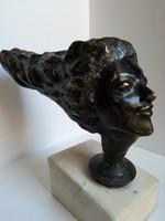 Art Deco bronz női fejszobor, szobor