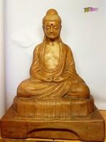 Meditáló Buddha, nagy méretű terrakotta szobor, egyedi ritkaság, 1977-ből