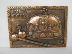 Szent korona fém fali dísz