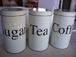 Vintage fém tárolódobozok, aromadobozok kávénak, teának, cukornak