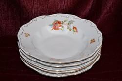 5 db Zsolnay tollazott barokkos mély tányér