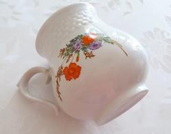 Hollóházi porcelán bögre pipacsos mezeivirágos sérült csésze