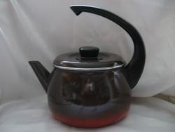 Retro zománcos teás, vízforraló kanna bakelit füllel