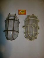Retro, védőrácsos műhely lámpa, mennyezeti lámpa - két darab