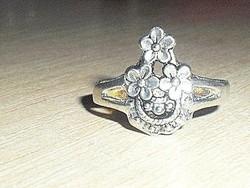 Régi Virág mint.Tibeti ezüst gyűrű 8-as