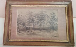 Antik akvarell (szignózott )