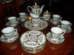 Meseszép antik kézzel festett 20 darabos hibátlan kínai porcelán reggelíző garnitúra