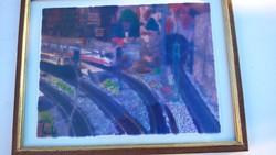 Gyönyörűen megfestett régi üvegfestmény