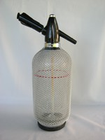 Retro fémhálós üveg szódás szifon szódásüveg