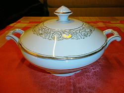 Gyönyörű fedeles leveses porcelán kínáló