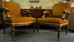 Klasszicista stílusú antik gurulós fotel pár