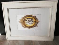 Macskássy Izolda: Nap látomás. Üvegezett selyem kollázs kép stílusos keretben.