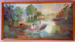 Hálóvetők, alföldi tájkép Véghné szignóval, antik olaj-vászon festmény a múlt század elejéről