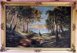 Vízparti erdőrészlet keskeny ösvénnyel, nagy méretű antik olaj-vászon festmény szignálva, keretezve