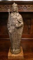 Szent István Bronz szobor - Jelzett: Krischmayer Károly - Méret: 44 cm. magas