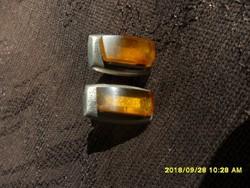 Ezüst borostyán orosz mandzsetta gomb pár