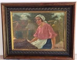 Pállya Celesztin (1864-1948) Vásári életkép c. olajfestménye EREDETI GARANCIÁVAL !!!!!