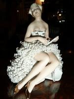 Jelzett német Wagner & Apel - Lippelsdorf antik porcelán balerina 18 cm