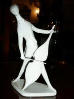 Jelzett antik hibátlan Art Deco Zsolnay porcelán zenész