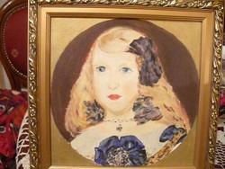 Olajfestmény kislány portré