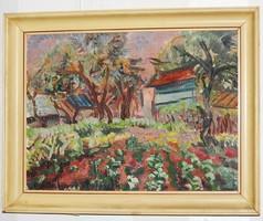 Gyümölcsöskert - olajfestmény, szignált, eredeti alkotás!