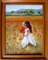 Pipacsszedő kislány EREDETI Moona festmény