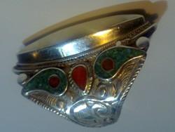 ANTIK HATALMAS EZÜST KORALL TÜRKIZ GYÖNGYHÁZ ÖTVÖS GYŰRŰ antique silver ring mother of pearl