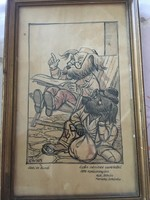 Endrődi István eredeti karikatúra 1954