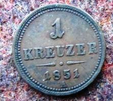 1 Krajcár 1851 A, Ferenc  József