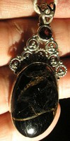 925 ezüst medál  fekete kalcit és gránáttal