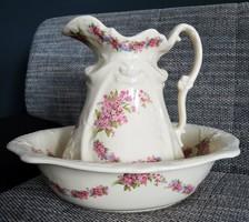 Jelzett angol porcelán mosdótál és kancsó, mosakodó szett