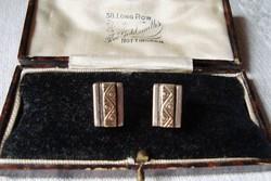 Kézműves ezüst fülbevaló 14 K arannyal