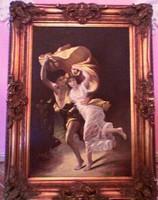 Kiűzetés a paradicsomból, nagy méretű bibliai jelenet, díszes keretben, Pierre Auguste Cot alapján.