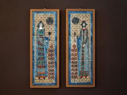Vén Edit Szent István király és Gizella királyné Kerámia Kerámiakép Csempekép Falikép Kép Zománckép