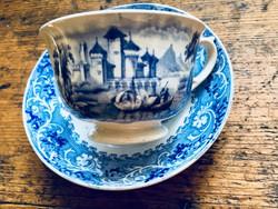 Antik angol 19. századi fajansz teás csésze aljjal, Rhine mintával