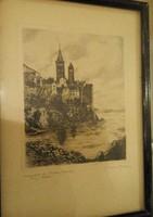 Régi kép Kolostor Rab szignózott Marie Adler 1863-1947