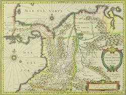 0T197 Antik Kolumbia térkép másolat ~1670