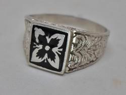 Szép antik zománcos ezüst gyűrű 63-as