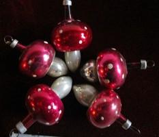 ANTIK üveg karácsonyfadísz KARÁCSONY ÜVEG FÚJT PÖTTYÖS GOMBA FENYŐFADÍSZ FIGURÁLIS KÉZIMUNKA