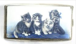 Tűzzománc ezüst tárca, cicákkal  belseje aranyozott
