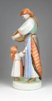 0T272 Régi Zsolnay kenyérszelő nő szobor 30.5 cm