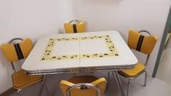 Formica króm asztal 4 székkel Mid Century