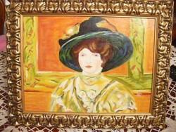 Női (olajfestmény) portré szép arany keretben