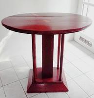 Antik art deco  öt oszlop lábú  ovális szalon asztal